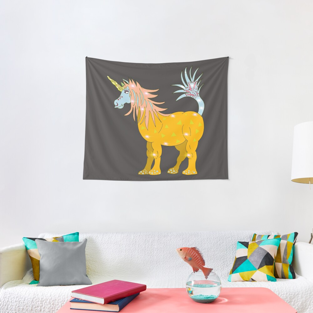 Mystical Magical Unicorn Yellow Tapestry