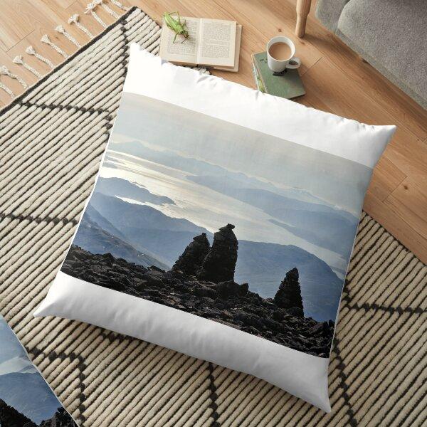 Cairns located near the summit of Ben Nevis Floor Pillow