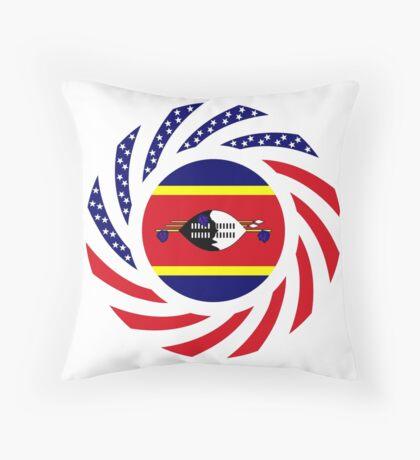 Swazi American Multinational Patriot Flag Series Throw Pillow