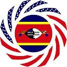 Swazi American Multinational Patriot Flag Series by Carbon-Fibre Media