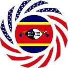 Swazi American Multinational Patriot Flag Series by Carbon-Fibre Media