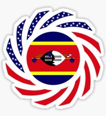 Swazi American Multinational Patriot Flag Series Sticker