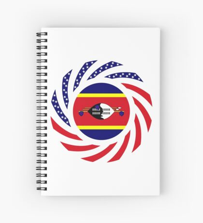Swazi American Multinational Patriot Flag Series Spiral Notebook