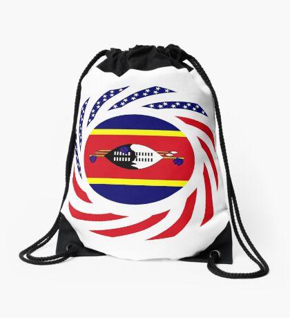 Swazi American Multinational Patriot Flag Series Drawstring Bag