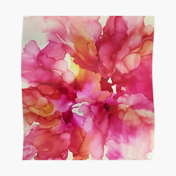 Pink Blooms Alcohol Ink Poster
