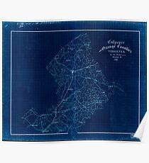 Civil War Maps 0337 Culpeper and Orange Counties Virginia Inverted Poster