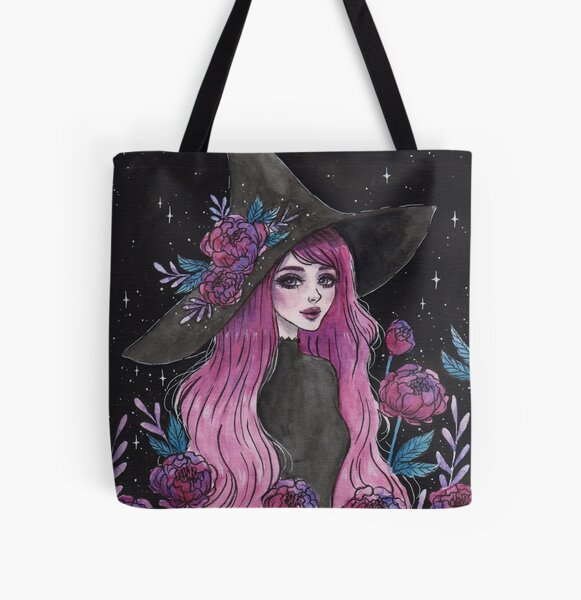 Magical Peony witch All Over Print Tote Bag
