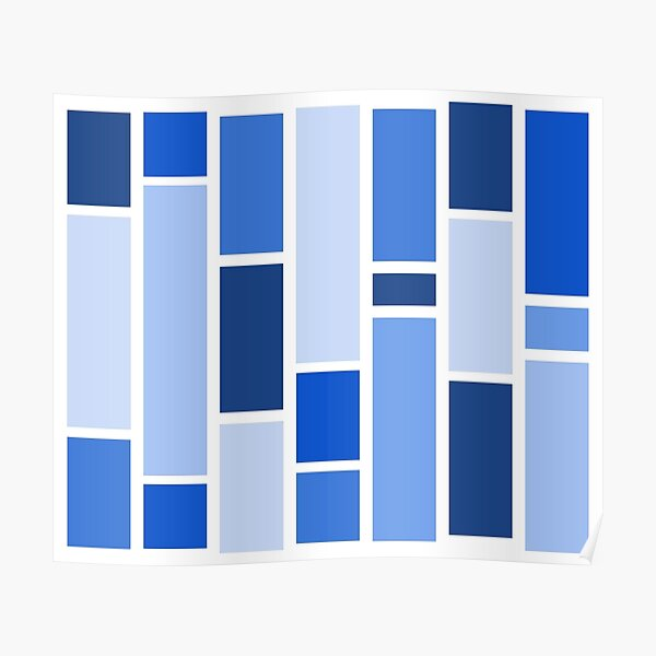 Cornflower Blue Vertical Rectangles (Varied) Poster
