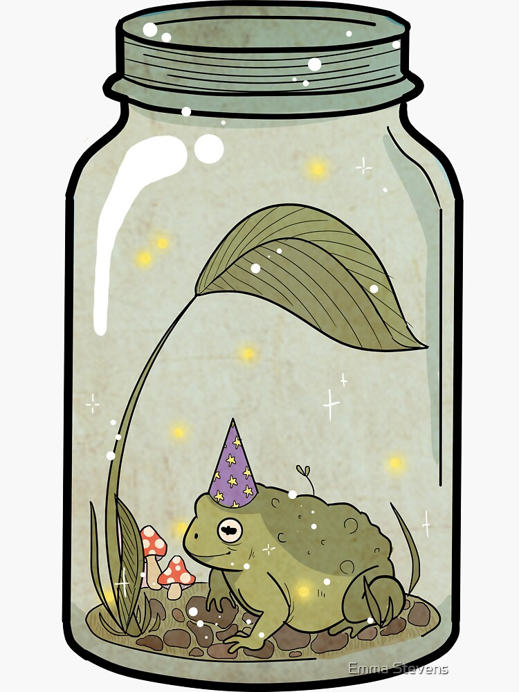 wizard frog in mason jar by emmjus