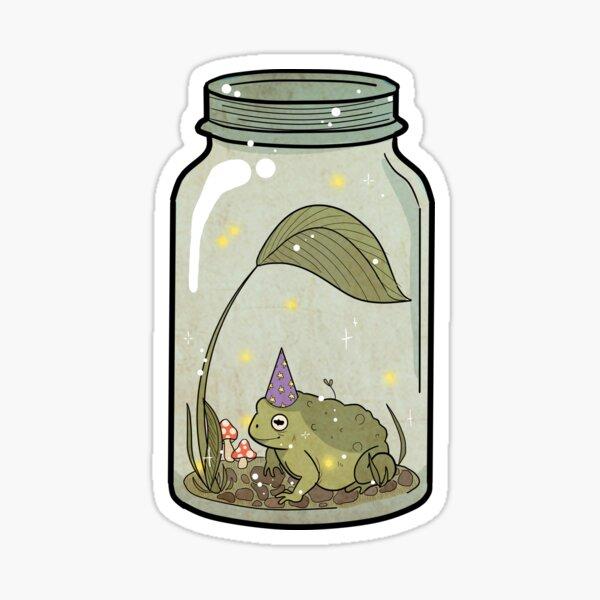 wizard frog in mason jar Sticker