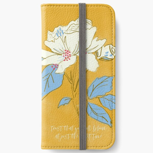 Trust You Will Bloom Golden, White and Blue Sketchbook Botanical by Terri Conrad iPhone Wallet