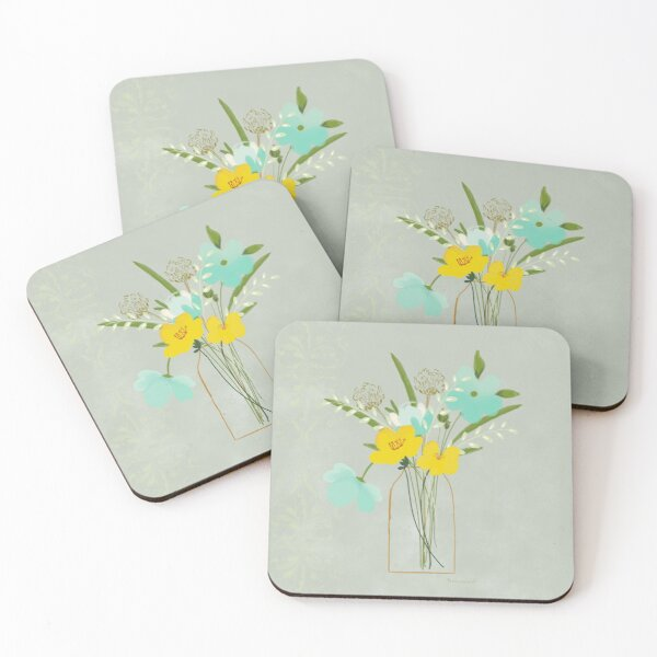 Blue and Yellow Watercolor Florals by Terri Conrad Coasters (Set of 4)
