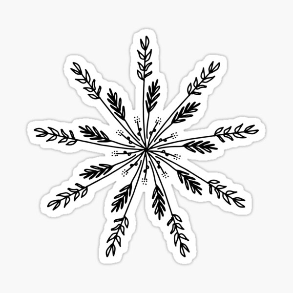 Hand Drawn Radial Floral Snowflake Doodle Sticker