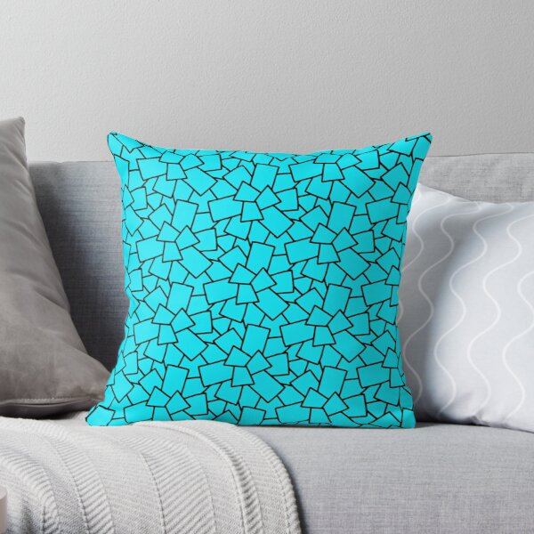 Tiles Abstract Black and White- Neon Blue Throw Pillow