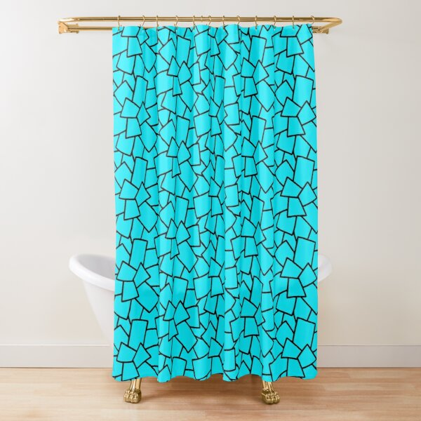 Tiles Abstract Black and White- Neon Blue Shower Curtain