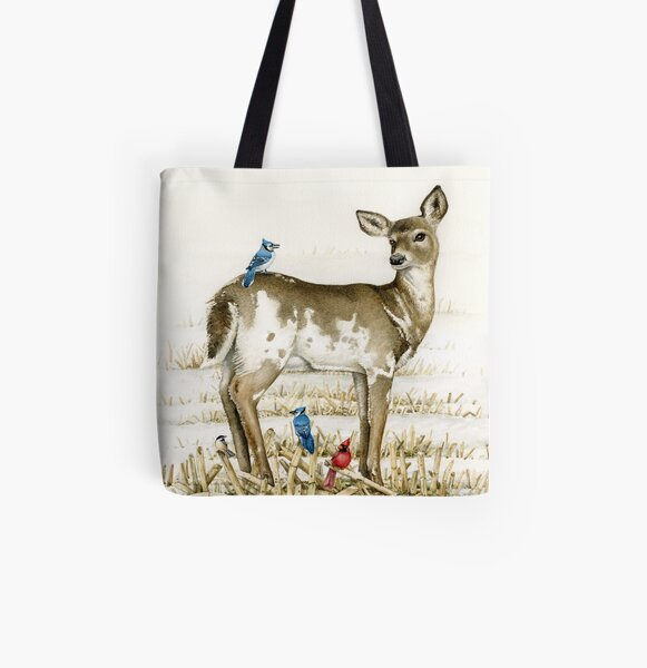 Pi Deer with Blue Jay All Over Print Tote Bag