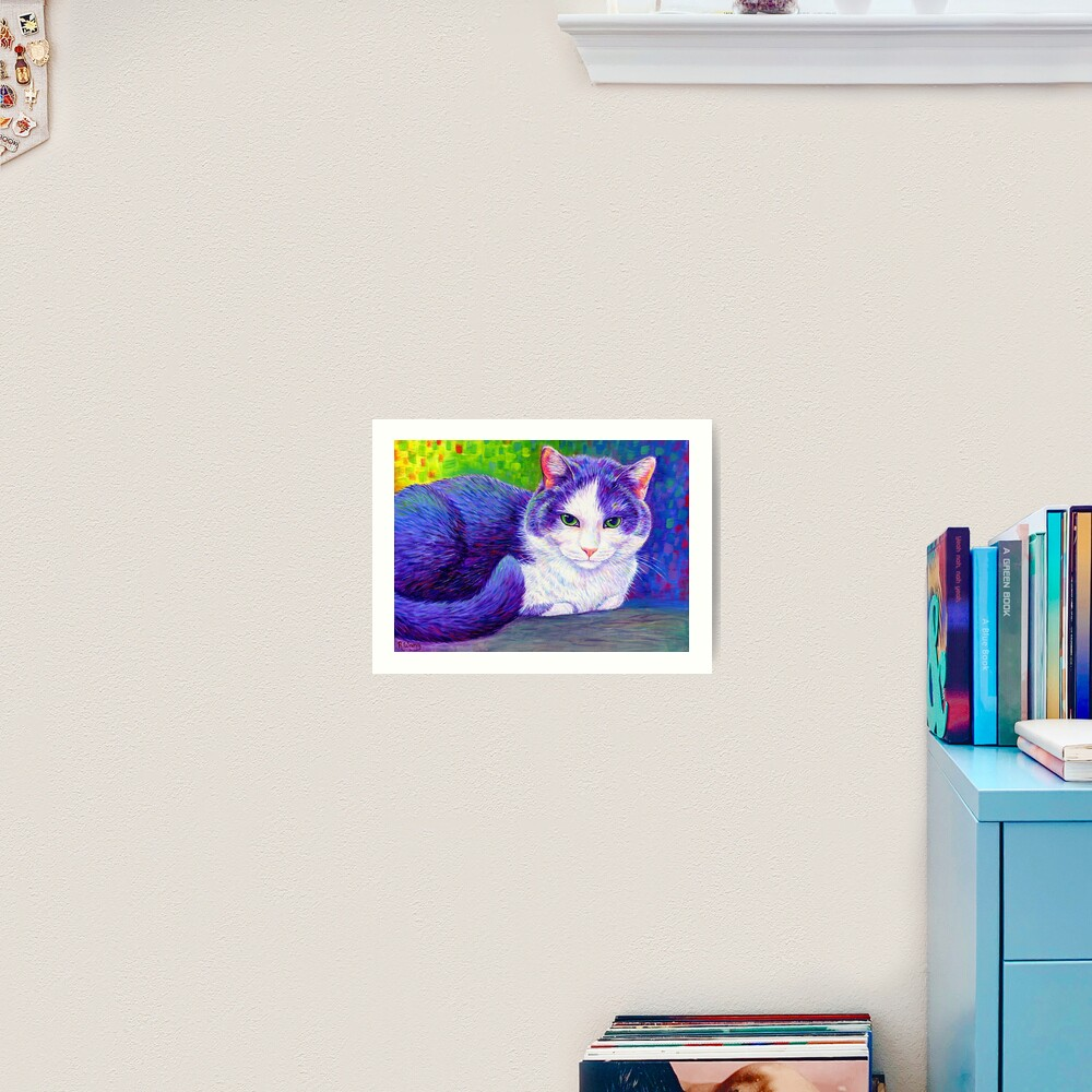 Colorful Grey and White Tuxedo Cat Art Print