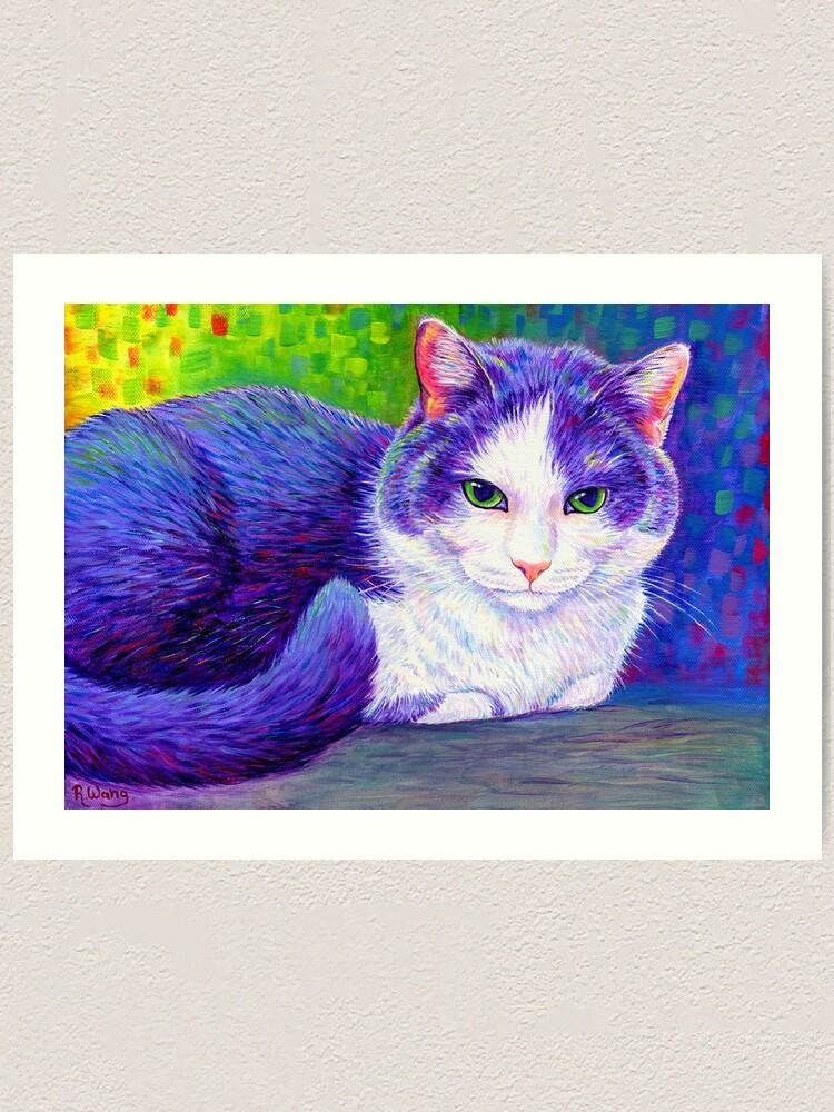 Alternate view of Colorful Grey and White Tuxedo Cat Art Print