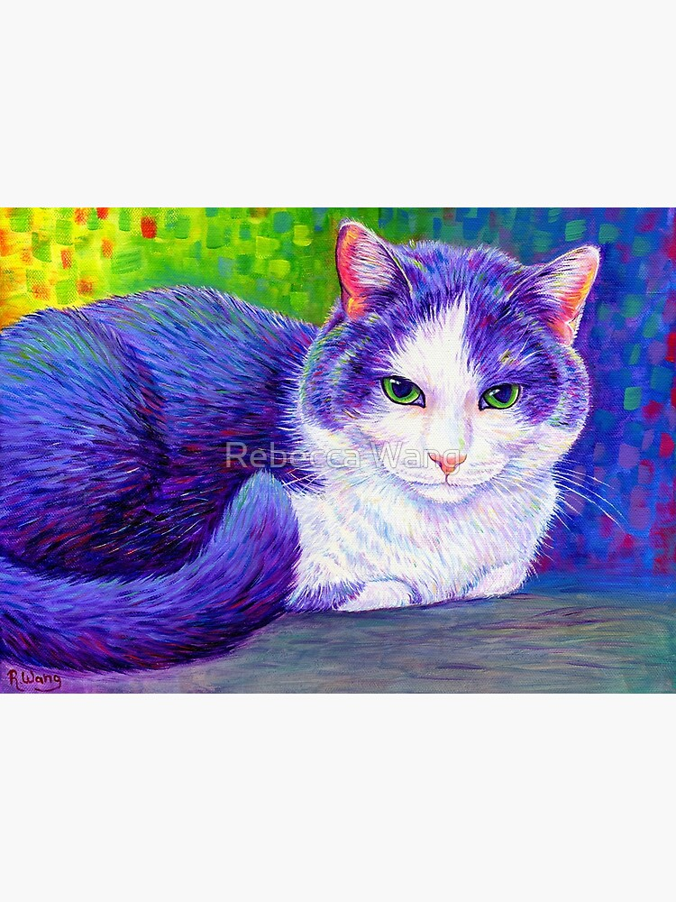 Colorful Grey and White Tuxedo Cat by lioncrusher
