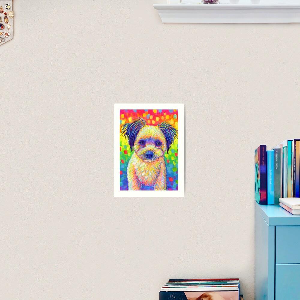 Colorful Pet Portrait Churro the Cute Rainbow Dog Art Print