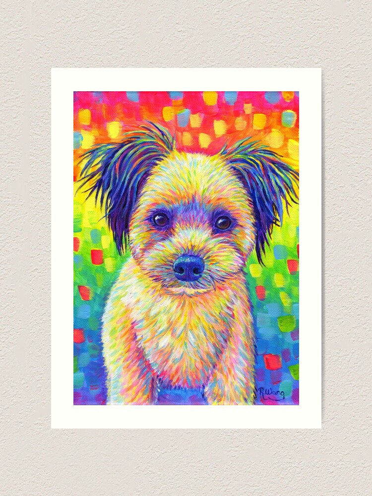 Alternate view of Colorful Pet Portrait Churro the Cute Rainbow Dog Art Print