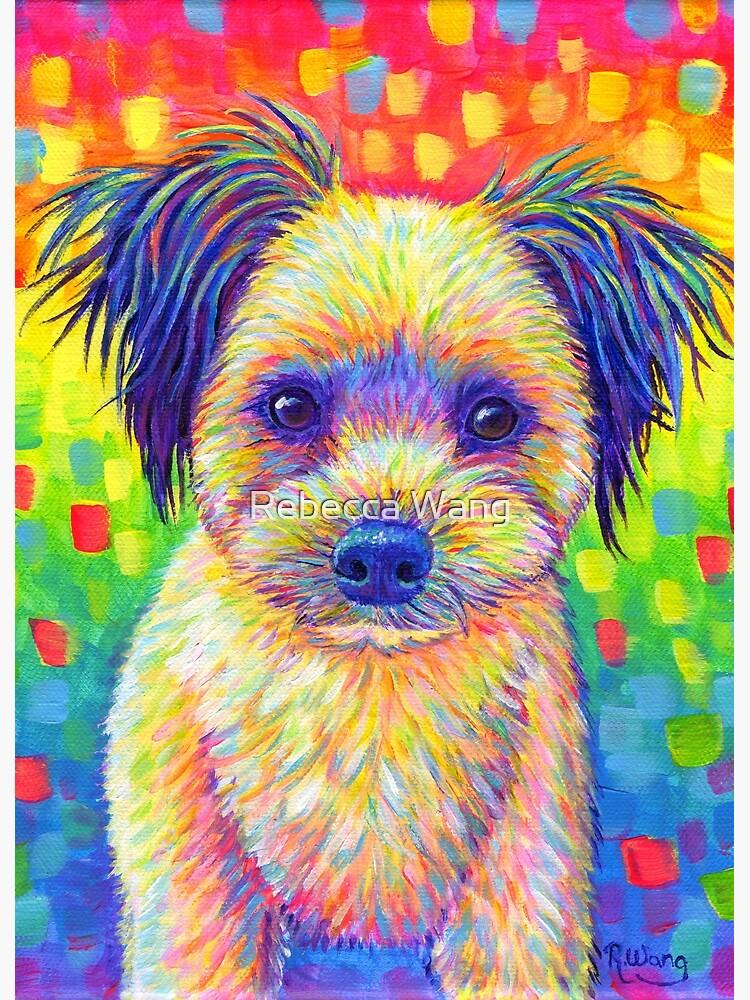 Colorful Pet Portrait Churro the Cute Rainbow Dog by lioncrusher