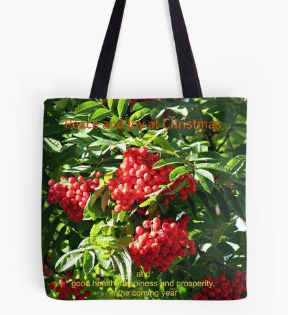 Red Rowan Berries Christmas Card Tote Bag