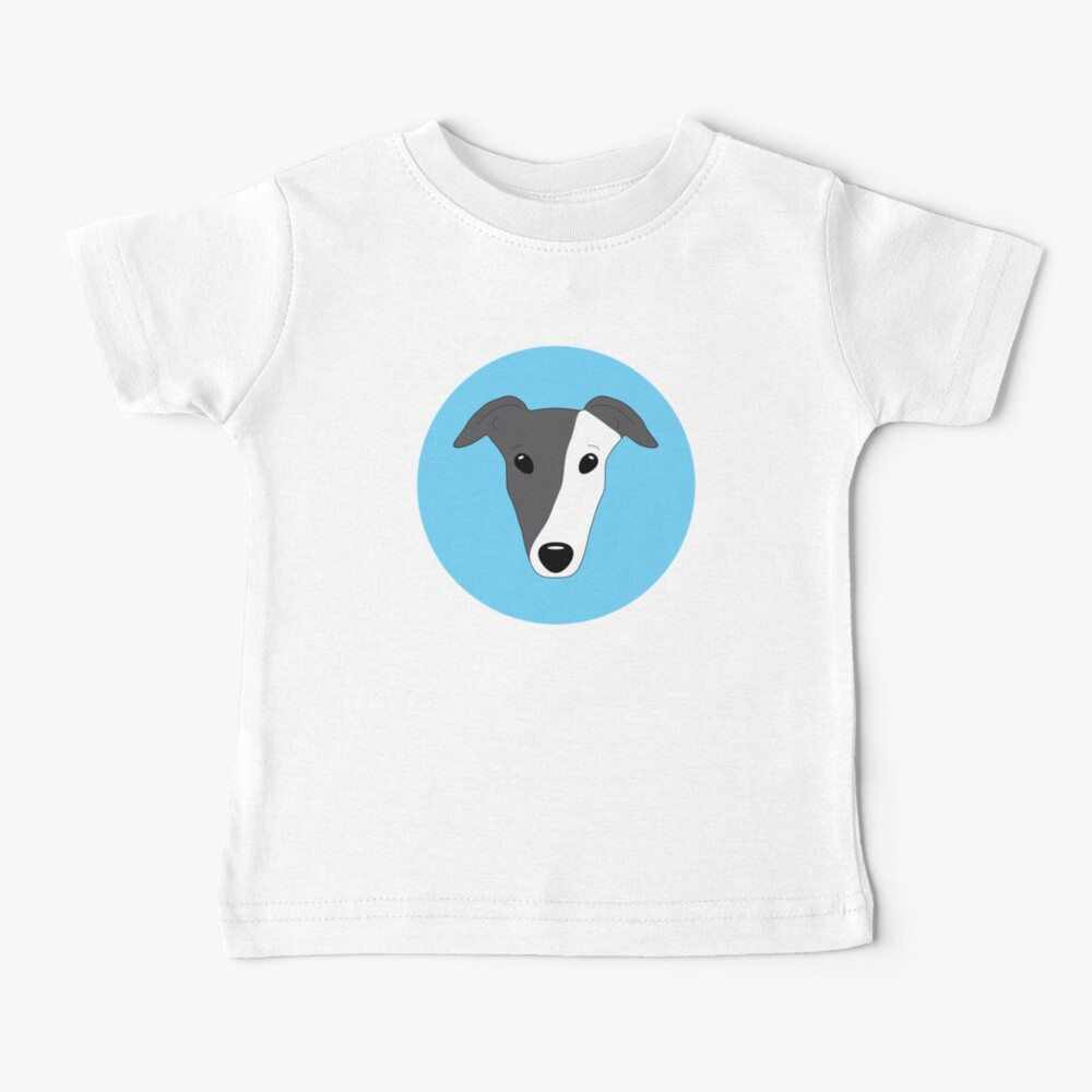 Blue black greyhound with white mask on blue background Baby T-Shirt