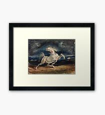 Horse Frightened by Lightning by Eugène Delacroix (1825 - 1829) Framed Print