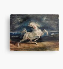 Horse Frightened by Lightning by Eugène Delacroix (1825 - 1829) Metal Print