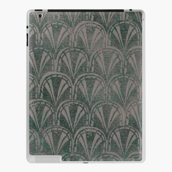Simple Ombre Green Grey Ashes Deco Scallops Textured Stamp Pattern iPad Skin