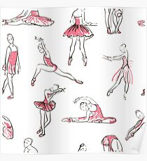 ballerina standing in a pose seamless pattern Poster