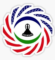 Mosotho American Multinational Patriot Flag Series Sticker