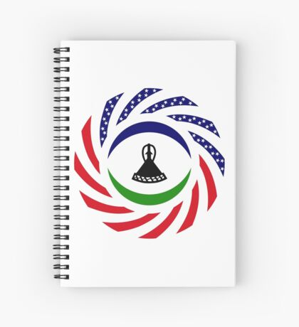 Mosotho American Multinational Patriot Flag Series Spiral Notebook