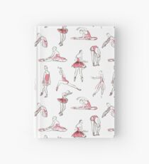ballerina standing in a pose seamless pattern Hardcover Journal