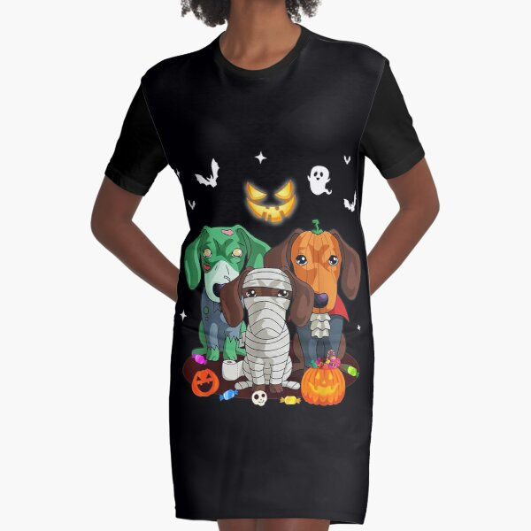 Halloween Dachshund Dog Witch Cute Gift Dachshund Dog Lovers Graphic T-Shirt Dress