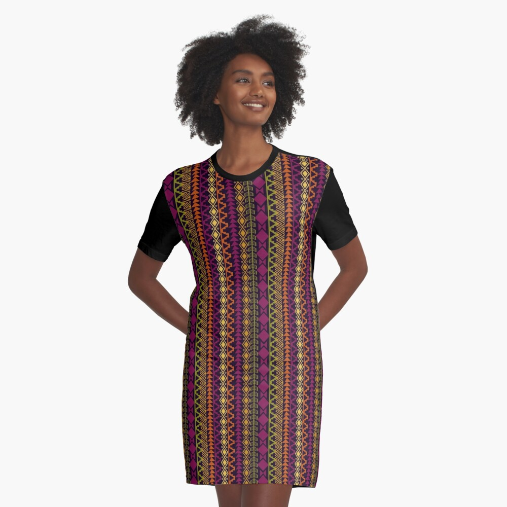 African Border Graphic T-Shirt Dress