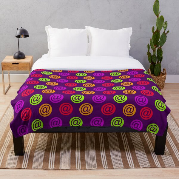 Multicolored @ email pattern (symbol, sign) purple background Throw Blanket