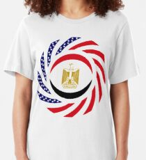 Egyptian American Multinational Patriot Flag Series Slim Fit T-Shirt