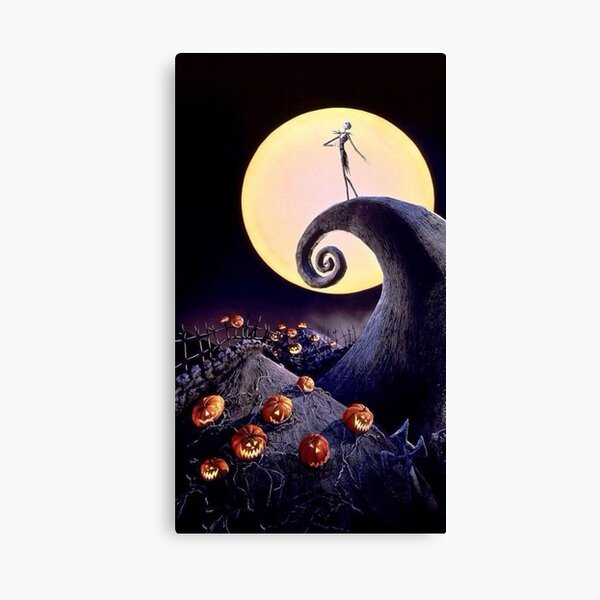 Jack skellington lonely in the graveyard Canvas Print