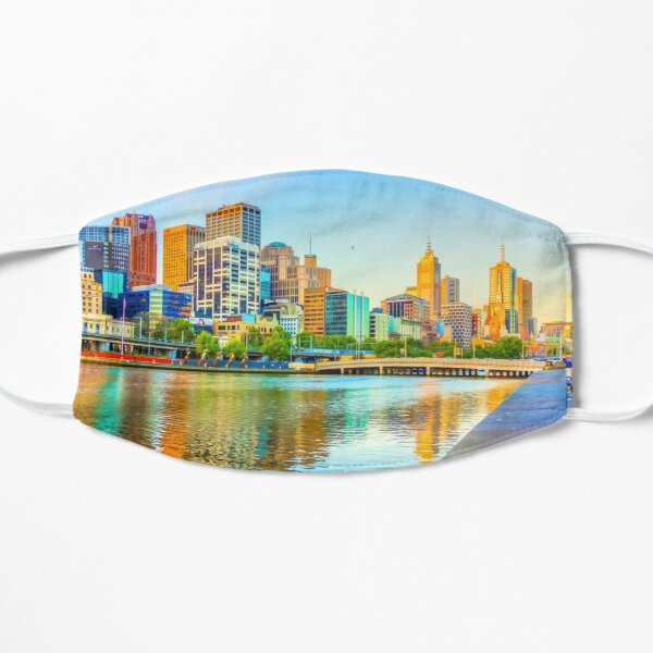Oil on Canvas - Melbourne Skyline Yarra Reflections Mask