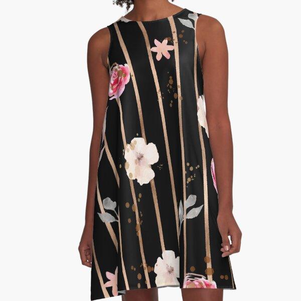 Rose gold floral pattern design A-Line Dress