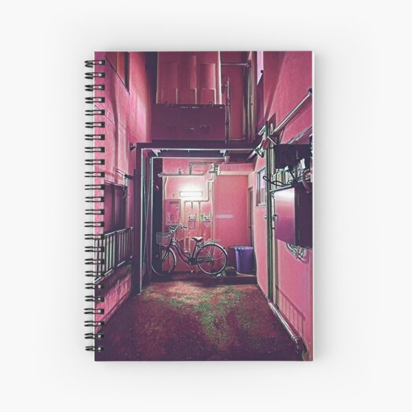 Aging Tokyo Apartment Building Hallway at Night Spiral Notebook