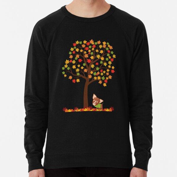 Dog under tree with fall leaves Lightweight Sweatshirt