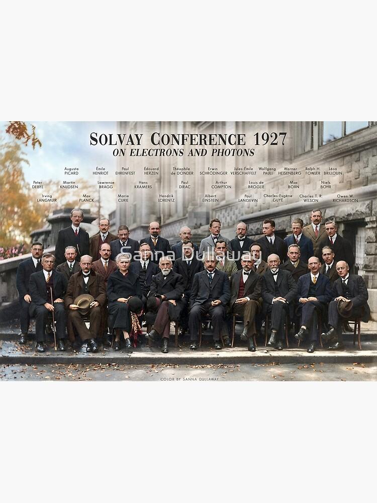 Plakat der Solvay-Konferenz 1927. Einstein, Curie, Bohr und mehr. von SannaDullaway