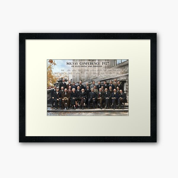 Solvay Conference 1927 poster. Einstein, Curie, Bohr and more. Framed Art Print