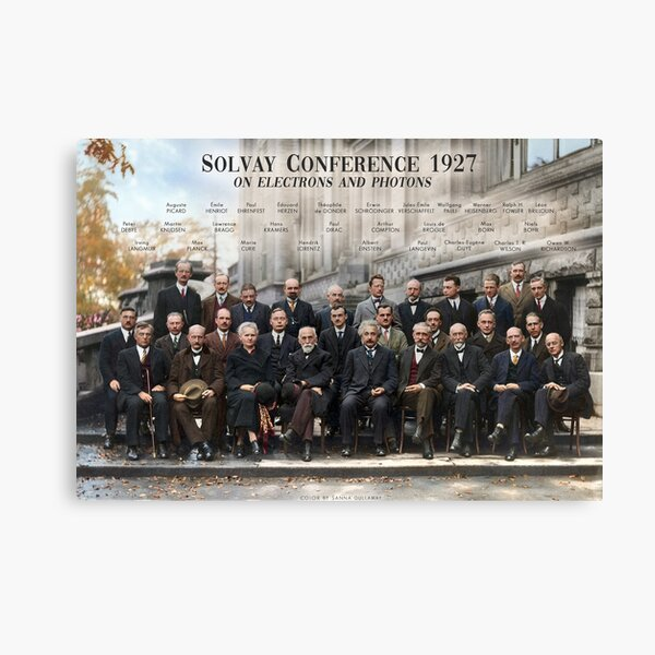 Cartel de la Conferencia de Solvay de 1927. Einstein, Curie, Bohr y más. Lienzo