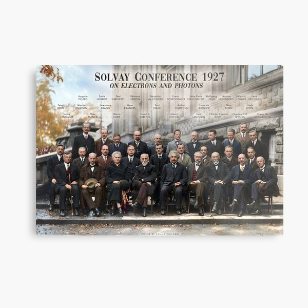 Solvay Conference 1927 poster. Einstein, Curie, Bohr and more. Metal Print