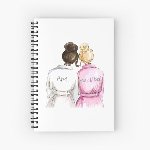 Wedding Gifts/Bridal Shower Gifts - Best Cute Engagement Gift for Her, Bride, Maid of Honor, Women, Best Friend or Sister - Bride and Maid of Honor Spiral Notebook
