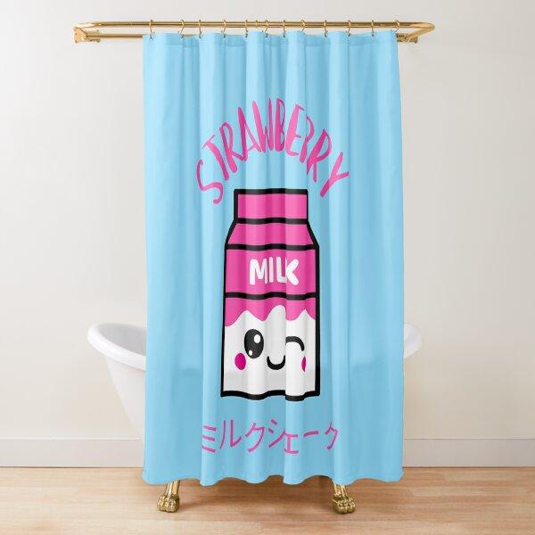 Kawaii pink strawberry milkshake ミルクシェーク Shower Curtain